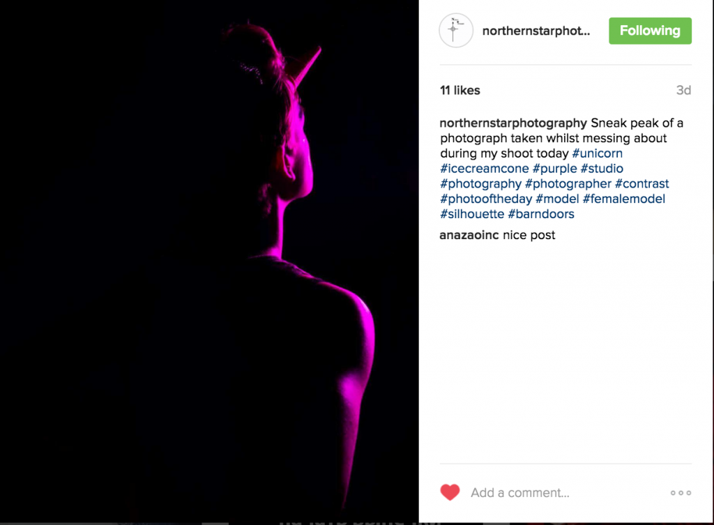 Test image posted to Northern Star Photography's Instagram page